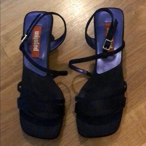 Navy silk sandals